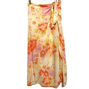 NWOT Free People floral  faux sarong wrap skirt